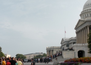 The hearse bearing Sen. Edward Kennedy's body stops in front of the Capitol where his current and former staffers joined members of Congress and the Senate to say farewell.