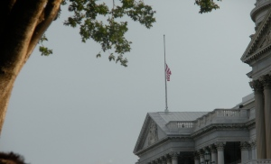 The Capitol flag at half staff